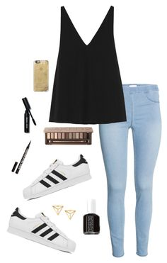 """gold&black"" by havenmikaylaerb on Polyvore featuring adidas, Urban Decay, H&M, Bobbi Brown Cosmetics, Essie, Casetify, STELLA McCARTNEY, women's clothing, women and female"