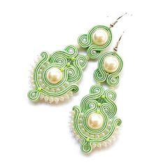 Soutache earrings pastel mint beige long by DecomamaPoland on Etsy
