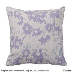 Purple Cone Flowers with Grey Background Throw Pillow  Available on more products, type in the name of this design in the search bar on my products page to view them all!  #daisy #cone #shasta #calendula #floral #flower #purple #grey #blue #pattern #print #all #over #abstract #plant #nature #earth #life #style #lifestyle #chic #modern #contemporary #throw #pillow #home #decor