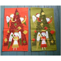 Vintage Christmas Angels with Tree Tammis Keefe Tea Towels Reversible Set  This unique set is made of four signed Tammis Keefe towels that have been