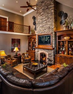 Quite an overwhelming design of a rustic living room with mahogany colored sofa…