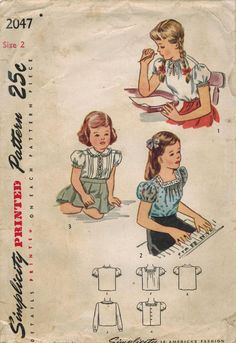1940s Simplicity 2047 Vintage Sewing Pattern por midvalecottage