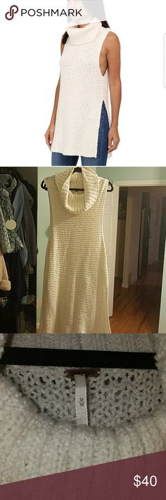 Free people White Horses Mockneck Tunic In used condition. No stains and no visible pulls as this material could get pulls from jewlery. Free People Sweaters