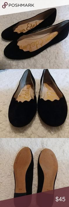 Sam Edelman Suede Scalloped Flats (8.5W) Looks and feels wonderful!!! Worn once inside for about 2 hours. Sam Edelman Shoes Flats & Loafers