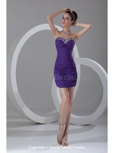 Chiffon Sweetheart Neckline Short Sheath Directionally Ruched Cocktail Dress