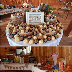 cupcakes on wooden logs
