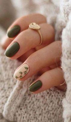 Beautiful green nail art design
