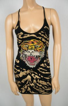 ED HARDY CHRISTIAN AUDIGIER Tattoo T Shirt Dress M Slim Sexy Camo Tiger Low Cut
