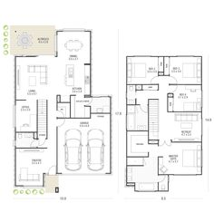 Explore over 60 single and double storey house plans. Each home design allows you to view facade options, minimum lot width, personalise your floorplan… Double Storey House Plans, Narrow House Plans, Modern House Floor Plans, Home Design Floor Plans, Family House Plans, New House Plans, Dream House Plans, House Plans Australia, Townhouse Designs