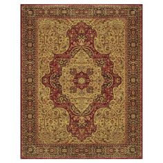 Beautifully loomed of art silk, this Turkish-made rug showcases a Persian-inspired medallion motif in red and chocolate.  Product:
