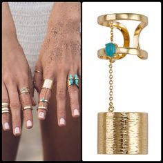 SAMANTHA WILLS ✌🏼️Copper Blossom Double Ring Gold FOR LUXE STYLE WITH AN EDGE, THIS RING WILL ADD A TOUCH OF BOLD BOHEMIAN BEAUTY TO ANY OUTFIT. THE14K GOLD PLATED, STERLING SILVER RING, COMPLETE WITH A HAMMERED EFFECT, LINKS TO A DOUBLE RING BY A FINE CHAIN. THE FINISHING TOUCH OF A ROUND TURQUOISE STONE ADDS A UNIQUE TOUCH TO THIS PIECE.  Adjustable. NWT Samantha Wills Jewelry Rings