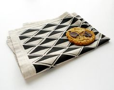 Black diamond tea towel from Cotton & Flax