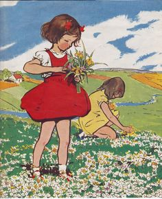 Wonderful fresh 'girls picking flowers in a sunny meadow' illustration, artist unknown