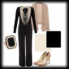 Soft Work Style. The jewelry and heels are what elevate this from PJs to work wear.