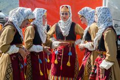Muslim Pomak women dressed in traditional clothing