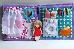 Handmade quiet book Dollhouse, busy book for girl, bathroom, Развивающая книжка Кукольный домик, ванна