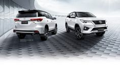 The latest Fortuner TRD Sportivo features restyled bumpers, TRD black wheels, TRD door sills, chrome TRD muffler and TRD Sportivo badge on the tailgate. Toyota has added specification with a more premium audio system and T-Connect infotainment. Toyota Cars, Toyota Hilux, Mens Toys, Black Wheels, Trd, Car Wallpapers, Audio System, Anonymous, Connect