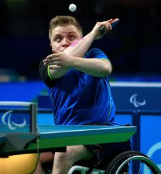 Germany's Valentin Baus plays against China's Ningning Cao in their Men's Singles - Class 5 Gold Medal table tennis match during the Paralympic Games in Rio de Janeiro, Brazil, on September 12, 2016.  Photo by Thomas Lovelock for OIS/IOC via AFP.  RESTRICTED TO EDITORIAL USE.    / AFP / IOS/OIC / Thomas Lovelock for OIS/IOC