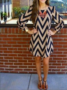 Stripe O-neck Long Sleeve Short Dress