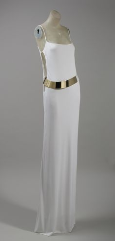 Evening dress and belt, fall/winter 1996–97  Tom Ford (American, born 1961), for Gucci (Italian, founded 1906)  White rayon jersey; white self-covering with brass buckle