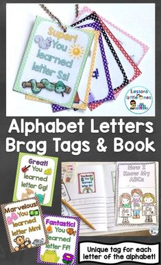 Reward your students' efforts learning all 26 letters of the alphabet with unique brag tags for each letter. Place them in the keepsake book, on necklaces, or send home as individual awards (great way to keep parents informed of progress). Learning Letters, Alphabet Activities, Preschool Letters, Preschool Printables, Literacy Activities, Educational Activities, Literacy Centers, Kindergarten Literacy, Early Literacy