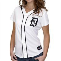 Majestic Detroit Tigers Ladies White Replica Baseball Jersey
