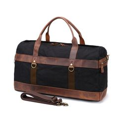 KU Leather Canvas Weekender P VDSL Luggage Travel Bag Duffle Bag Carry-on Luggage Bag Waterproof for Men Women A ArmyGreen