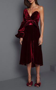 Sabina One Shoulder Velvet Dress by JOHANNA ORTIZ for Preorder on Moda Operandi