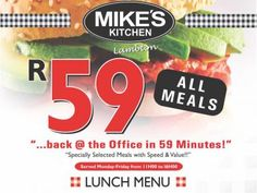 Mikes Kitchen Lambton Lunch Menu - Back at the office in 59 minutes - all meals Snack Recipes, Snacks, Lunch Menu, The Office, Chips, Meals, Kitchen, Food, Snack Mix Recipes