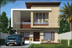 chawla ji modern houses by pixel works modern 3 Storey House Design, Bungalow House Design, House Front Design, Modern Bungalow House, Modern Houses, Modern Exterior House Designs, House Architecture Styles, Home Building Design, 3d Home