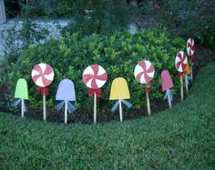 Peppermint Candy Set Yard Art Christmas by WildeWoodTreasures