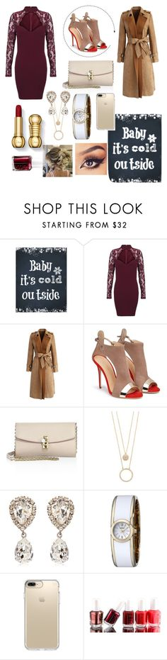 """Baby It's Cold Outside"" by glamourgirl0416 ❤ liked on Polyvore featuring Chicwish, Dolce&Gabbana, Kate Spade, Caravelle by Bulova, Speck and Essie"