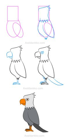 How to draw an eagle - Comment dessiner un aigle                                                                                                                                                                                 More