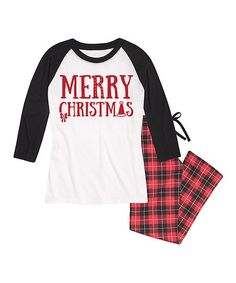 7f314a702b Look what I found on White   Black  Merry Christmas  Raglan Pajama Set -  Women
