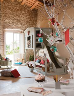 playroom with Holiday decorations
