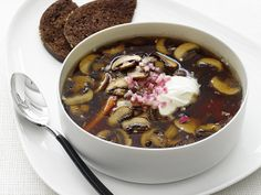 Mushroom and Caraway Soup.  Trust me, it is delicious!  Instead of thickening the soup with heavy cream try the lower fat option and just dollop a little creme fraiche on the top!