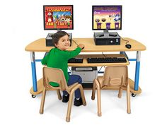 Heavy-Duty Adjustable Mobile Computer Station for Two at Lakeshore Learning