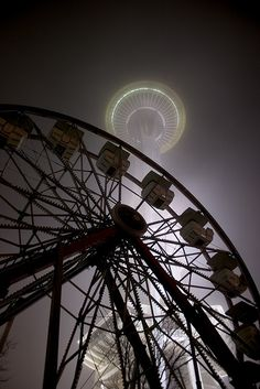 Wandering around the Seattle Center on a foggy night with my tripod. And oddly enough, I was the only photographer there. Seattle Washington, Washington State, Seattle Sights, West Seattle, Hello Seattle, Evergreen State, Emerald City, City Photography, Oregon Coast