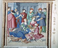 Roman de la Rose: Scene, Lucretia committing Suicide -- Lucretia, with right hand holding sword, pierces own abdomen, bleeding from wounds, partly kneeling on ground and partly supported by hands and arms of two other women, one wearing diadem, all surrounded by eight men, five wearing hats, one feathered and one turban-like, all gesturing, looking on or in conversation with each other.