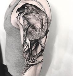 black work raven tattoo sleeve