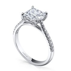 Princess cut engagement ring with side diamonds