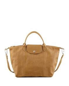 Le Pliage Cuir Handbag with Strap, Yellow by Longchamp at Neiman Marcus.