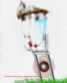 © Antxon Castresana - Graphical illustration Lo siento sin TU silla para poder sentarse a hablar  NO puedes tocarme NO puedes olerme NO puedes verme.Que puedo hacer,escribir y escucharte.Pero te puedo sentir.