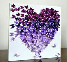 Quadro coração com borboletas em degradê