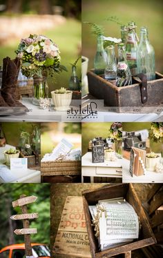 Incredible florals and vintage wedding details! Lovely outdoor wedding with Queen anne's lace, handmade guest book, potted succulents, hand tied sheet music, rustic signs, vintage VW Bug.