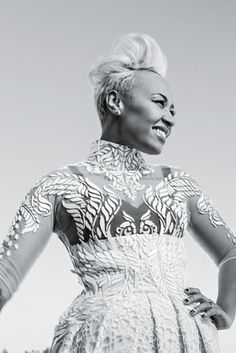British singer Emeli Sandé: Dress by Michael Cinco, *price upon request, by special order only (stylepublicrelations@gmail.com). Earrings, Vita Fede, $290, vitafede.com. Rings, her own.