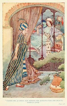 Paying his 40 Liras, saw behind the window pane the beauty without peer - Ottoman Wonder Tales by Lucy M.J. Garnell, 1915