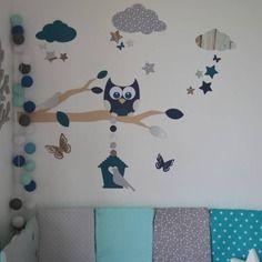 Dispo - stickers chouette branche cage à oiseau nuage et étoiles version petit garçon - gris bleu canard
