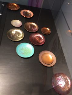 by Lena Clasing (Aalto University, Colour and Material Led Design): Copper Color Palette. Heat and acid coloured copper. 2017. Design Museum in Helsinki.