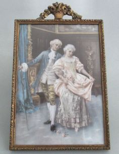 Antique Gilt Wood Gesso Frame Barbola Crown Basket of Roses French Lovers